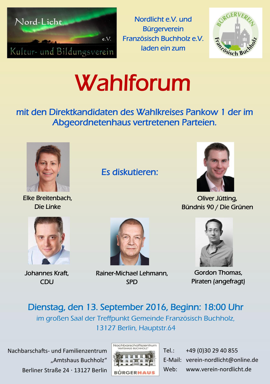Flyer Wahlforum 2016